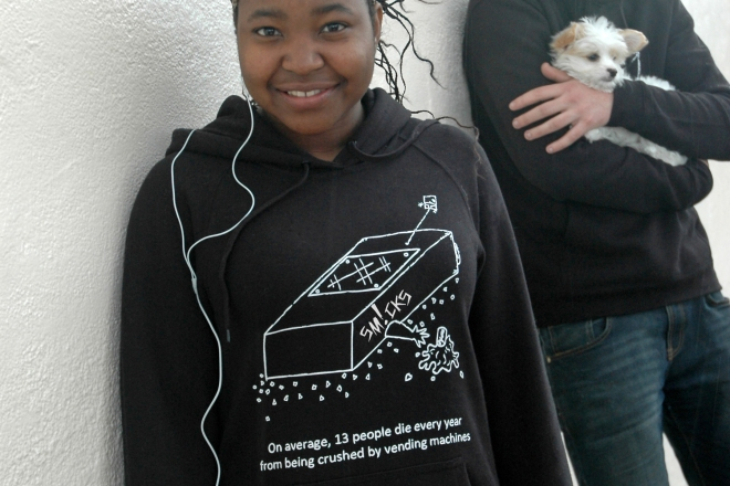 hoodies (available only in black, $59.90) or t-shirts (available in blue as well as black, $24.90)