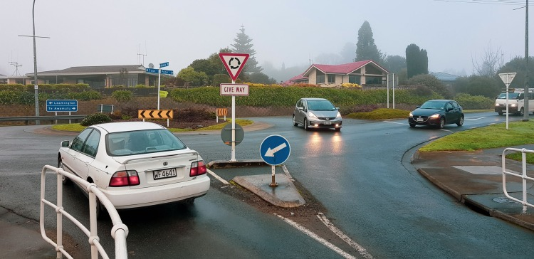 Roundabout at Cook, Pope & Victoria Bridge (Waikato River), Leamington, Waikato, New Zealand. 29 June 2018
