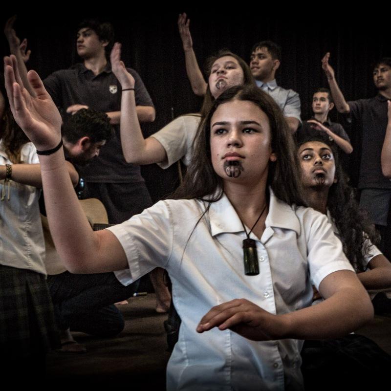 Cambridge High School Kapa haka performance. Don Rowlands Centre, Lake Karāpiro Domain, Waikato, NZ. Friday, 17 August 2018.