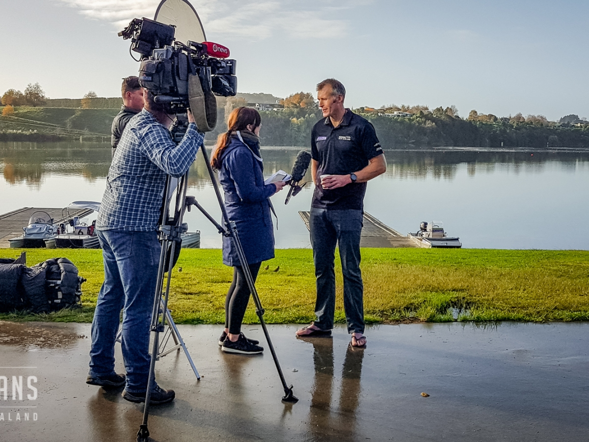 Interviewing Mahé Drysdale. Rowing New Zealand presser, Lake Karapiro Domain, Waikato, New Zealand. 6/6/2018
