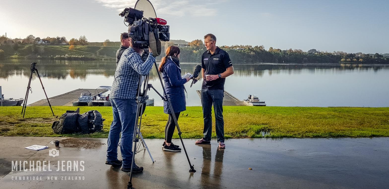 Interviewing Mahé Drysdale. Rowing New Zealand presser, Lake Karapiro Domain, Waikato, New Zealand. 6/6/2018