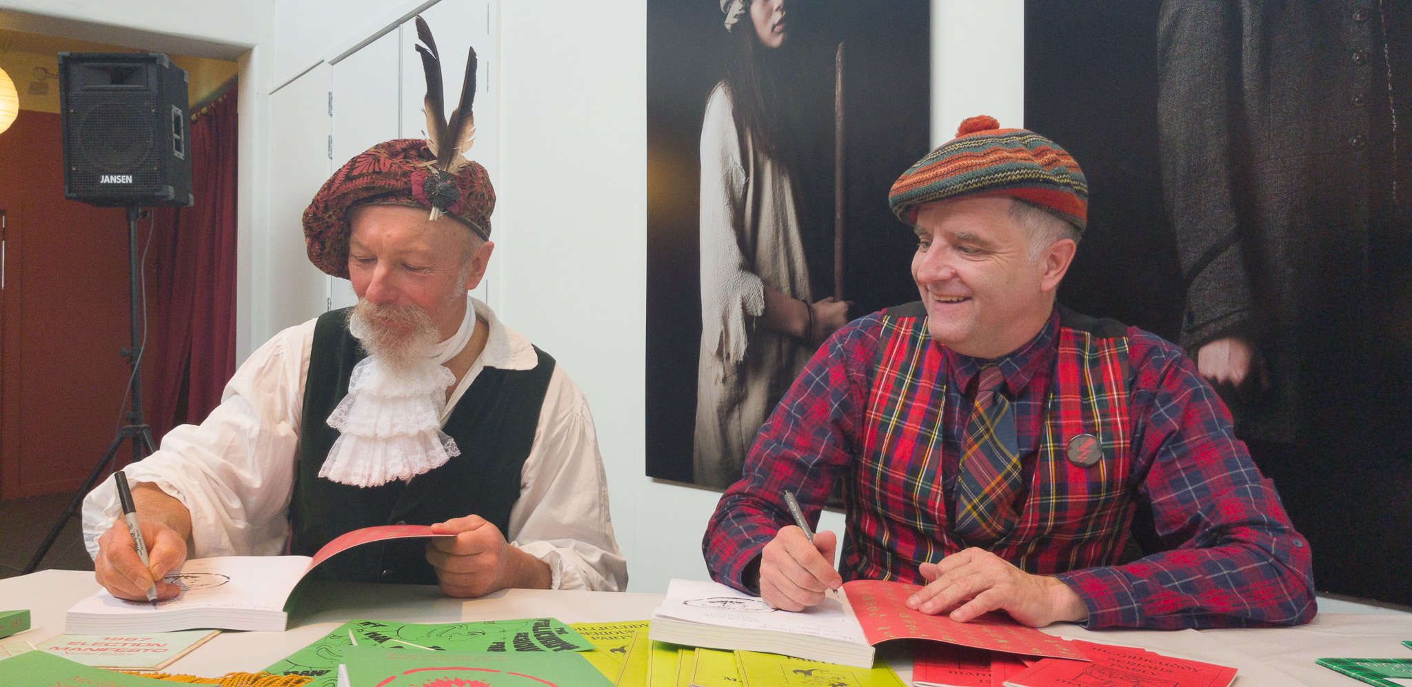 Graeme Cairns & Mark Servian book signing at the McGillicuddy Serious Party Manifesto Folio book launch, The Meteor Theatre, Hamilton, Waikato, New Zealand. Saturday 7 July 2018