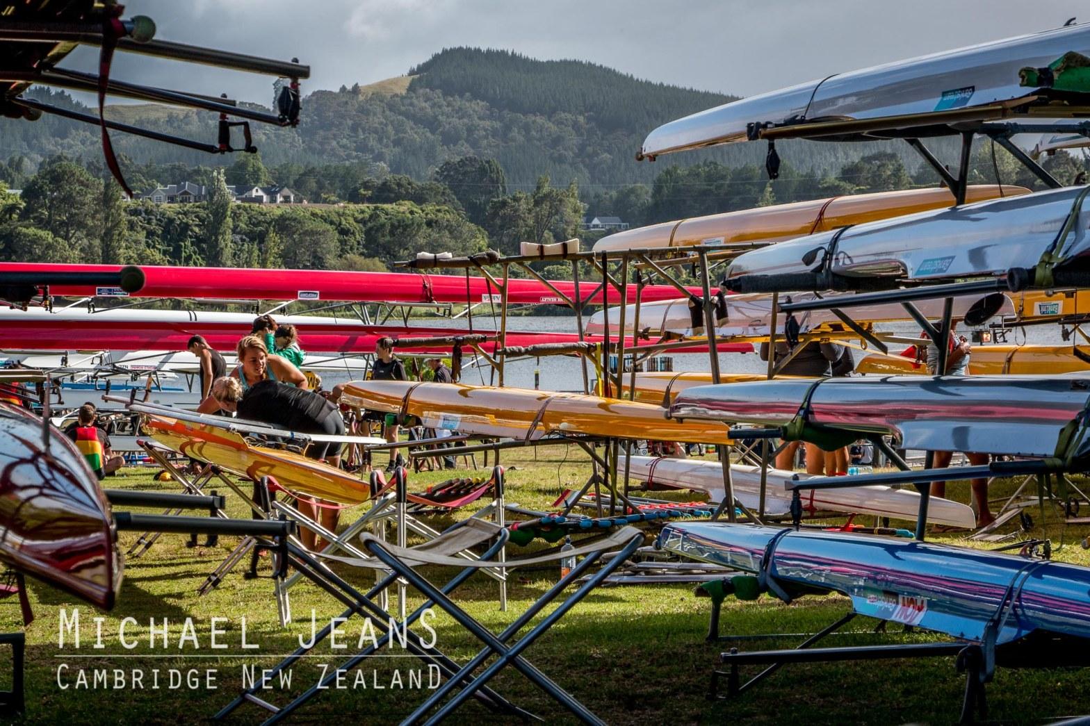 Rowing skiffs boat park Lake Karapiro Domain Waikato New Zealand